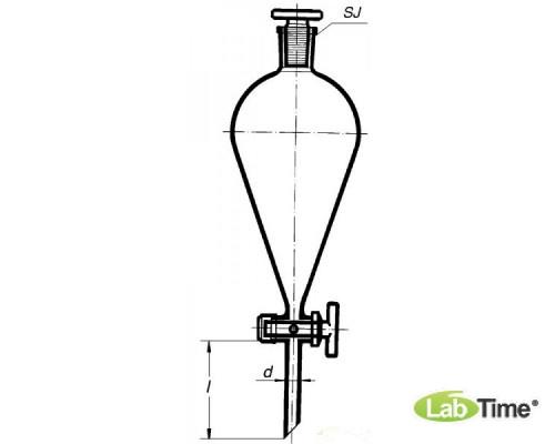 Воронка делительная грушевидная ВД-3-500мл PTFE кран, BORO