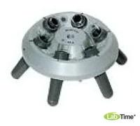 Угловой ротор 6х15 мл со стаканами 13011 для пробирок 15015, 15020, 15023, 15024, 15115 и 6 реакционных виал 15008 или 15040