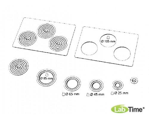 Крышка плоская с 3 отверстиями 107 мм и набором колец различных диаметров