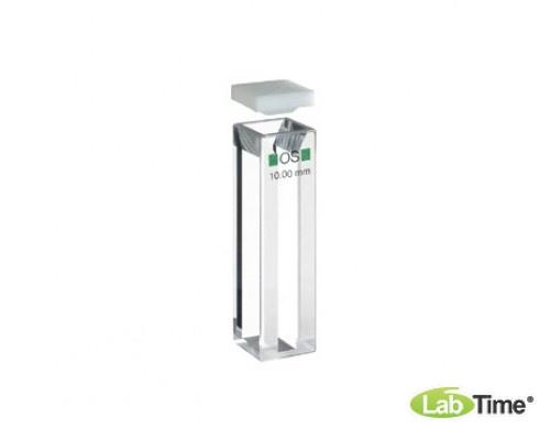 Кювета оптическое стекло 104F-OS оптический путь 10х4 мм, с PTFE крышкой