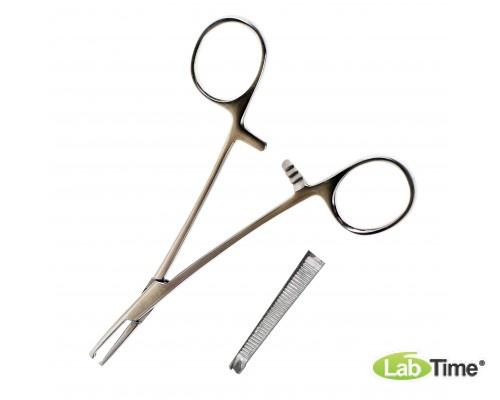 Зажим кровоостанавливающий, одно- и двузубый, зубчатый, прямой № 1, 150 мм.(Кохер)