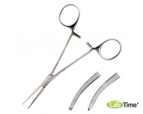Зажим кровоостанавливающий, одно- и двузубый, зубчатый, изогнутый №2, 160 мм (Кохер)